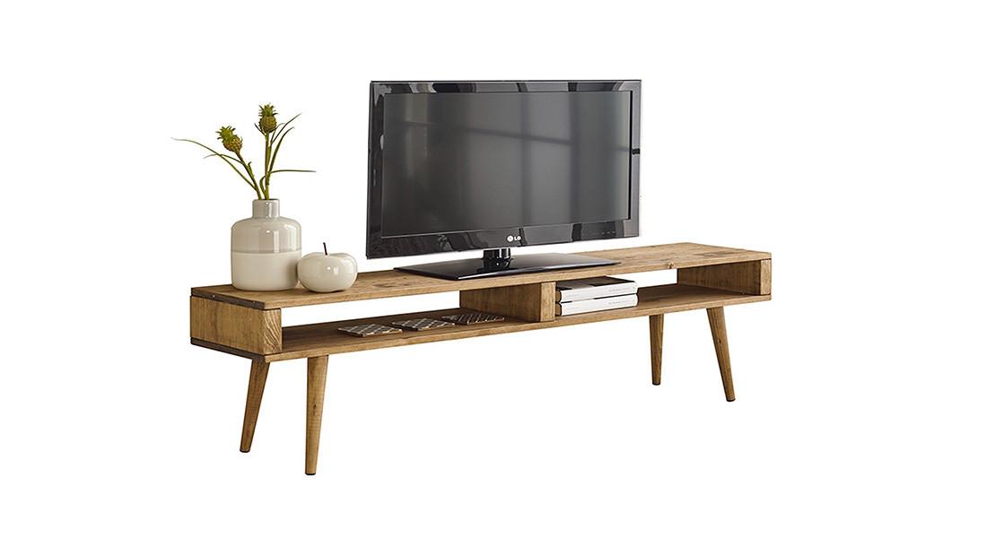 Mueble TV salón diseño Vintage 2 huecos, Madera Maciza Natural, Fabricación Artesanal. 140cm x 43cm x 30cm